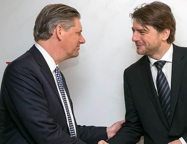 Links Johan Lundgren von TUI, rechts Minister Lorencin bei der ITB in Berlin. Foto: tuigroup.com