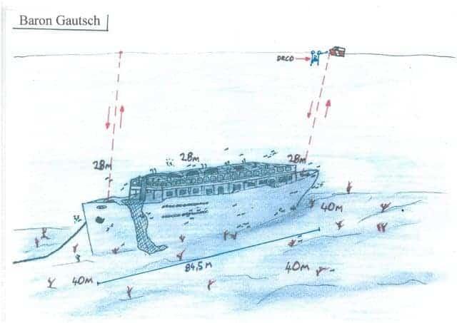 Skizze des Wracks, Foto: Diving Center Shark Medulin