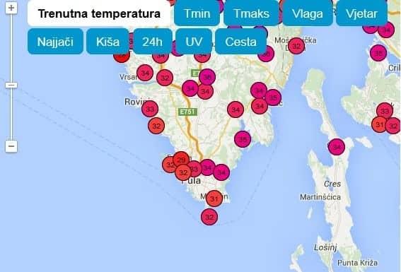 Temperaturen in Istrien heute um 13:30 Uhr. Screenshot Istramet.com