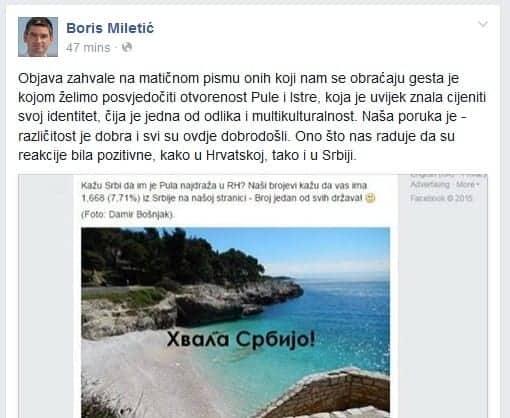 Das Kommentar von Boris Miletić auf Facebook.
