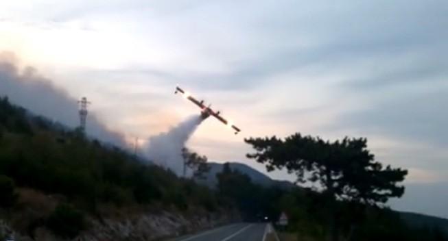 """Die """"Kanader"""" genannten Löschflugzeuge im Einsatz. Foto: Screenshot"""