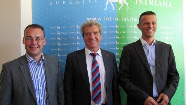 Peter Friedrich, Frank Hämmerle und Valter Flego heute in Pula. Foto: Istra-Istria.hr