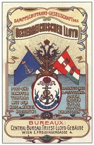 Werbeplakat des Österreichischen Lloyd, Quelle: Katalog der Ausstellung Baron Gautsch - das erste Opfer des Ersten Weltkriegs in Istrien (19014-2014)