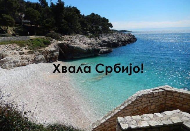 """Die Botschaft """"Danke Serbien"""" auf der Facebook Seite der Stadt. Foto: Facebook/Damir Bošnjak"""