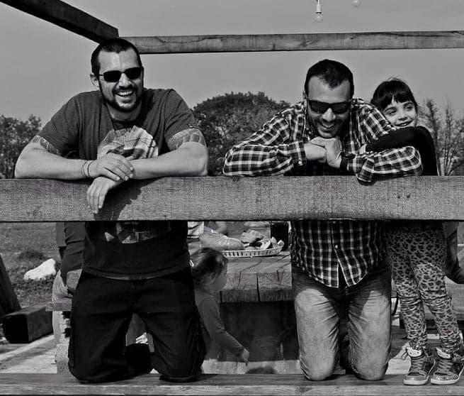 David Skoko vom Konoba Batelina und Bruno mit Tochter. Foto: Hassan Abdelghani, Facebook Trapan