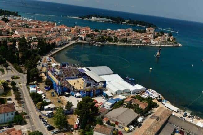 Die Peskera Bucht in Porec während des Swatch Majors Series Turniers. Foto: Swatch Majors Series